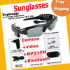 Free Shipping 5 IN 1 Camera + video + MP3 + FM + Bluetooth Sunglass, 4G Memory Bulit-in