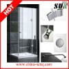 SUN05 Square brass hinge walk in shower enclosure