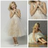 MF1120 Tea-Length Sequined Spaghetti Strap Cheap Vintage Flower Girl Dresses For Weddings