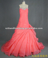 V-neck beading on neckline side drape water melon 2080 organza hot sale real wedding dress