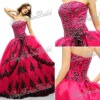 Strapless with Applique Ball gown ruffle natural waist Beaded Taffeta lace up back quinceanera dresses gowns