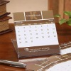 new style paper desck calendar with clear plastic case