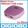 portable charger mobile power bank for iphone ipad ipod mobile phone and all USB device 5000mAh 2 USB output