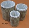 Natural rush straw durable laundry basket / laundry hamper