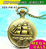 Hot sale wholesale bronze sailing boat fashion women's pocket watch sweater necklace