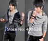 2012 new stylish leisure hoody long sleeves men t-shirt with epaulettes