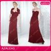 AZ0576 Sweetheart Handmade Flower Ruffle Floor-length Ruffle Red Chiffon mother of the bride dresses 2012