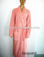 jacquard coral fleece bathrobe