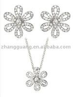 Rhinestone flower jewelry set