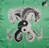 silk square scarf in jade dragon design