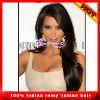 In stock Indian remy human hair front lace wigs with bangs