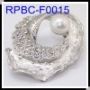 Wholesale Imitated White K Plated FWP Conch Shape Brooches