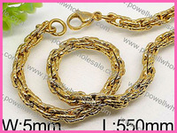 Gold Chunky Curb Link Stainless Steel Mechanic Style Mens Set Necklace