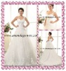 2013 Exclusive design lace applique wedding dress with one lace strap and puffy tulle skirt