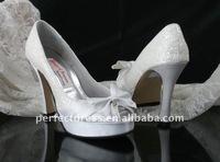 popular chffion wedding shoes white