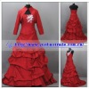 Real Photo of 2012 New Arrival Beautiful Red Wedding Dress with Long Sleeves Jacket/Bolero YBWD-1326