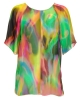 Multi coloured tie-dyed chiffon top