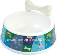 super large size melamine Colourful dog bowl with a bone toy for dog and cat,pet bowl