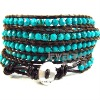 natural turquoise multi wrap hand-knitted bracelet bangle