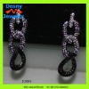 costume ball jewelry unique long gunmetal tone curb chains glittering sparkling earrings