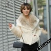 Hot sale Girl beige white color raccoon dog collar rabbit fur Real Fur Jacket #1210-A