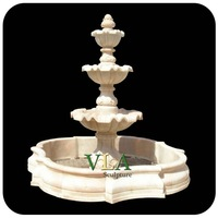 Three-Tiers Natural Sunset Red Marble Garden Fountain VMF-N014