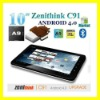 "10"" Google Android 4.0 Wi-Fi Tablet PC 8GB Zenithink C91 Upgrade to 1GB RAM"