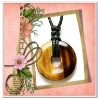 Hot sale semi precious stone tiger eye donut pendant