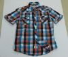 men short sleeve plaid shirt 218#, check shirt, lattice shirt, cotton shirt