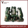 set of 3 green funny frogs tabletop figurine polyresin crafts