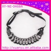 fashion fabric necklace with acrylic beads
