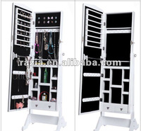 White Color Wooden Standing mirror jewellerym cabinet (E009)