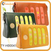 Colorblock genuine leather flap bags with polka dots