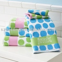 Cotton terry jacquard bath towel