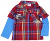 A2955#RBONew style child clothing appliqued car Boy shirt with plaid
