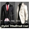 Men's Stylish Double Breasted Long Trench Coat Jacket Windbreak