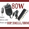 80W Universal Laptop Car DC Charger Notebook Power Adaptor- for HP/DELL/IBM ThinkPad