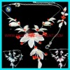fashion flower silver bridal jewelry necklace set