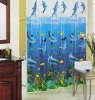 Fish and Ocean Blue PVC Shower Curtain