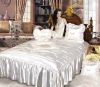 100% Polyester Satin Embroidered Bedspread Set