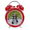 Romantic kiss large twin bell alarm clock