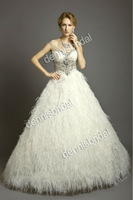 New Arrival EG-018 White Sweetheart-Neck Sleeveless Beaded Ostrich Feather Floor-Length Satin Ball Bridal Gown Wedding Dress