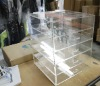Acrylic makeup storage with 5 drawers perspex cosmetic dividers