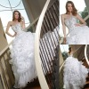 Charming Sweetheart Embroidery Ball Long Train Tiered Wedding Dress Bridal Gown