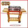 wooden bbq grill with two wheels and wings