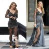 Custom made Gossip Girl fashion Blake Lively fashion Zuhair Murad dress prom gown long sleeve dress celebrity