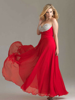 PE021 Romantic swarovski crystals red plus size evening dress