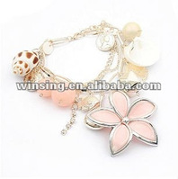 korean sweet summer shell pearl conch flower bracelet