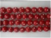 red round 8mm shell pearl bead with inlay rhinestone