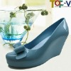 Blue Closed Toe PVC Women Shoes Online